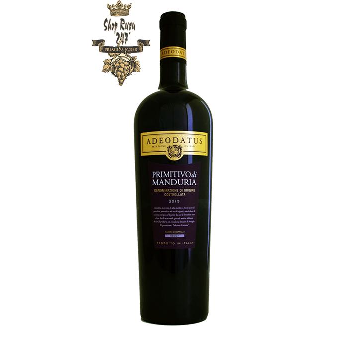 Rượu Vang Ý AD'EODATUS Primitivo Di Manduria là một loại vang đỏ phức hợp, có màu đỏ đậm của ngọc ruby và màu đậm đến nỗi ánh sáng thậm chí không thể xuyên qua nó.